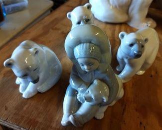 Vintage Lladro Porcelain Polar Bears