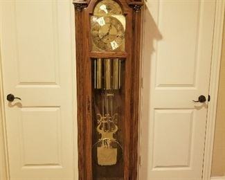 Pearl Grandfather clock commemorative University of Texas engraved on pendulum