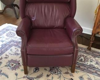 Beautiful Burgundy Leather chair with hobnail accents