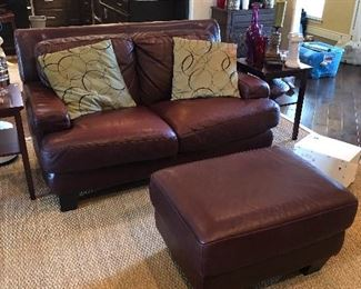 Leather Loveseat and Ottoman