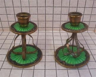 Antique French Guilloche Enamel Candlesticks