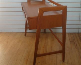 Midcentury Modern Mahogany Desk or Bar with Compass Legs