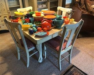 Antique oak painted table with 4 chairs