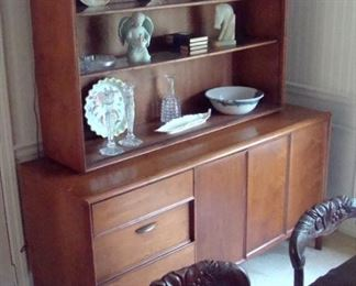 Mid-century modern  china hutch with sliding glass doors. (presently removed but available for buyer)