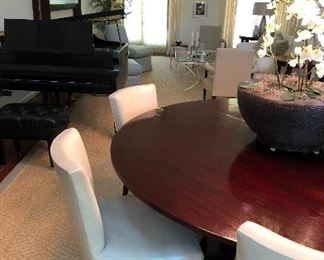 "70 inch round mahogany & nickel ""tulip"" Baker dining table - original price $4700.00. Asking $1200."
