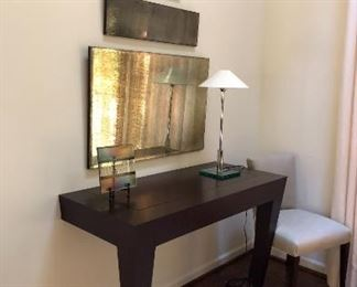 "Wall mount mahogany console table. Tapered legs with platinum sabots.  48""x22""x32""h Original price $4000. Asking $700"
