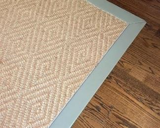 Diamond pattern sisal rug with a taupe leather border. 13'x29' Great condition!  Original price $3800. Asking $750
