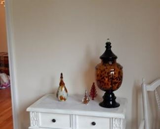 wooden furniture and glassware
