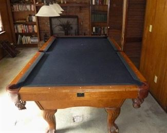 Kasson slate top pool table with leather pockets & carved feet - we will do a pre-sell of this item, so email if interested. Table is 4ft x 8ft & 2 piece slate top