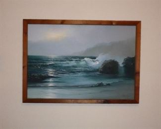 lovely original oil seascape painting, signed