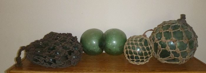 Vintage Japanese glass fishing net floats, including hard to find binary glass float, some have Maker's Marks