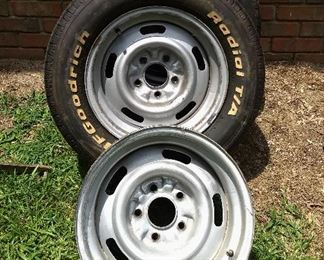 """3 Vintage Chevy Wheels, 5 bolts, 15""""x 7""""-8"""""""
