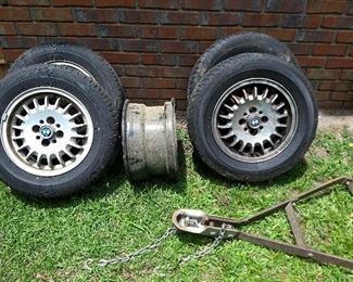 """Set of 4 BMW 3 Series Wheels - 14""""x6"""", 4 Bolt plus a tow bar - these BMW wheels have been reduced for final day sale to just $25 each"""