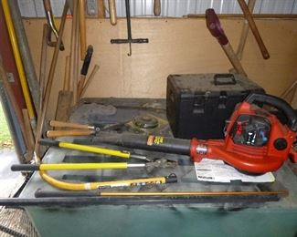 gas blower & poulon chainsaw, tools