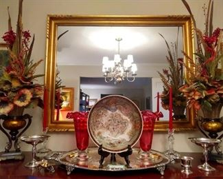 1940's gilt wood mirror, with silk arrangements, large silverplated serving platter and pair of sterling silver compotes.