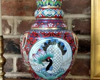 "One of a pair of 12"" cloisonne vases."