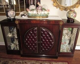 Burgundy Red Leather Tufted Front Mahogany Bar/Entertainment/Cabinet
