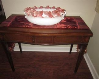 Antique Folding Mahogany Game Card Console Table