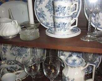 "Kensington Staffords ""Balmoral Blue"" China Service with many extras"