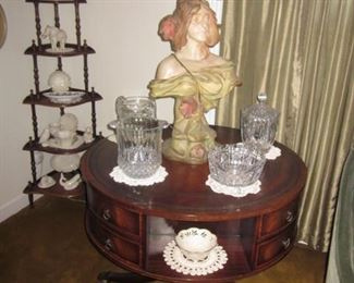Regency Style Leather Top Drum Tables