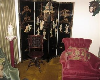Huge Asian Collection Japanese Room Divider Screen       Pedestals ~ Antique Victorian High Back Swivel Piano Seat