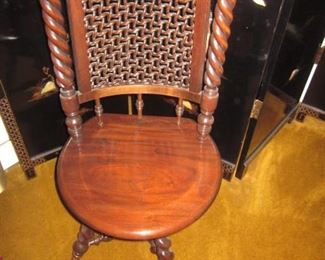 Antique Victorian High Back Swivel Piano Seat