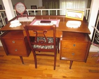 Mid-Century Modern Desk with Seating
