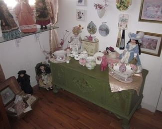 Tons of Collectibles Dolls and more Cedar Blanket Chest
