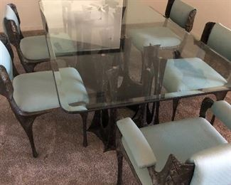 paul evans sculpture stalagmite table w/ 6 chairs