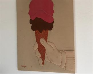 1970s Ron Brejtfus Double Scoop Ice Cream Wall Textile