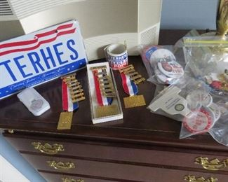 a small sampling of the political items that include 4 RNC convention pins belonging to Ms. Terhes.