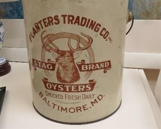 Very rare Stag Brand Oyster one-gallon tin
