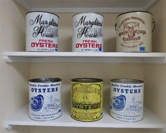 The six oyster tins that will be in the sale