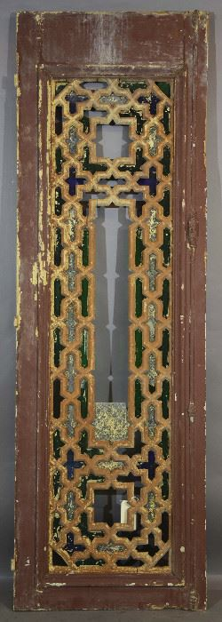 Antique Geometric Design Stained Glass Wood Door