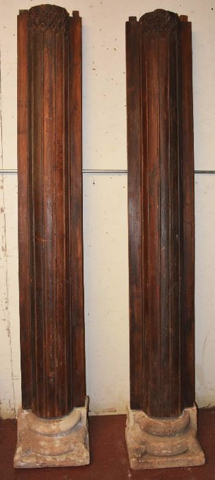 Pair of Teakwood Pilasters with Carved Stone Bases