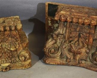 Two Teakwood Carved Pillar Tops