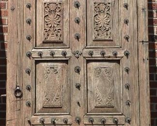 Antique Carved Entry Door with Carved Panels