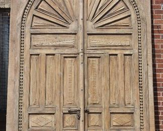 Antique Castle Doors with Geometric Design