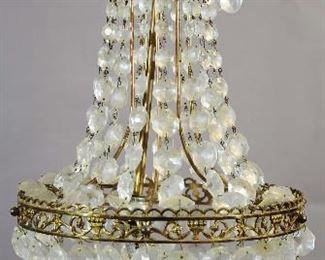 French Louis XVI Style Crystal & Brass Chandelier