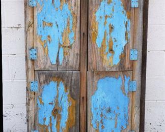 Antique Teakwood Four Panel Wood & Iron Window
