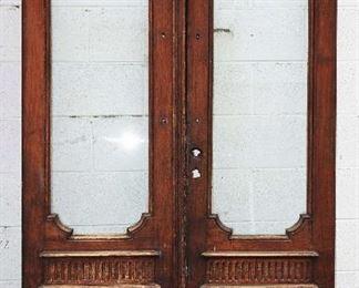 French Renaissance Style Walnut Double Door Set