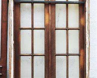 Antique Walnut Double Door Set with Frame