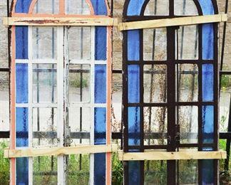 Pair of European Stain Glass Windows