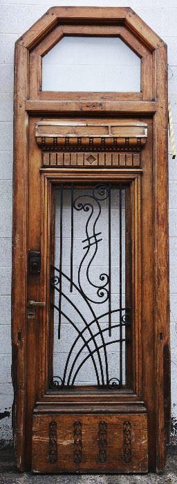 French Louis Oak Entry Door