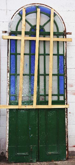 Stain Glass Garden Door Set with Iron Frame