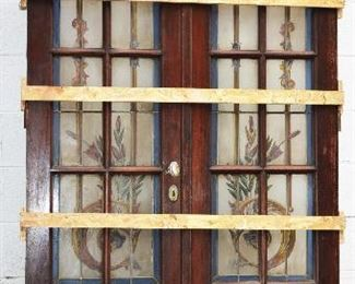 French Louis XVI Style Stain Glass & Wood Door