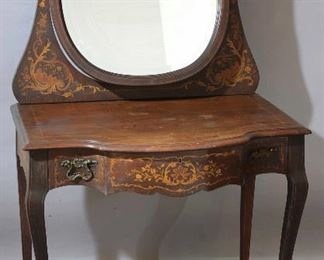 Turn of the Century Marquetry Inlaid Vanity