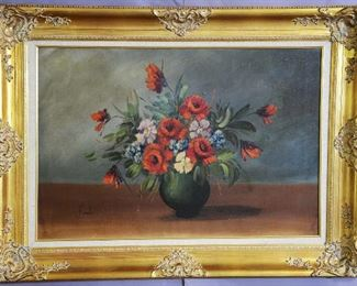 Still Life Oil on Canvas Painting by Bonato