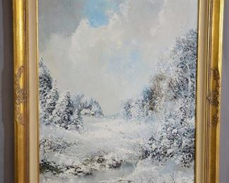Winter Landscape Oil on Canvas by L. Bauer