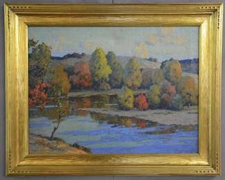 Landscape O/C Artist Signed J Richards ' 52